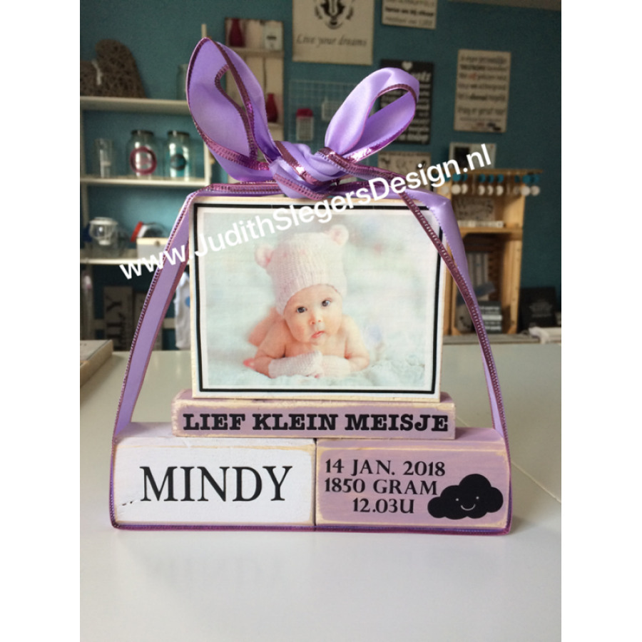 Luxe geboorte blokken met foto roze